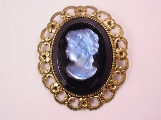 Western Germany Blue Glass Cameo Pin
