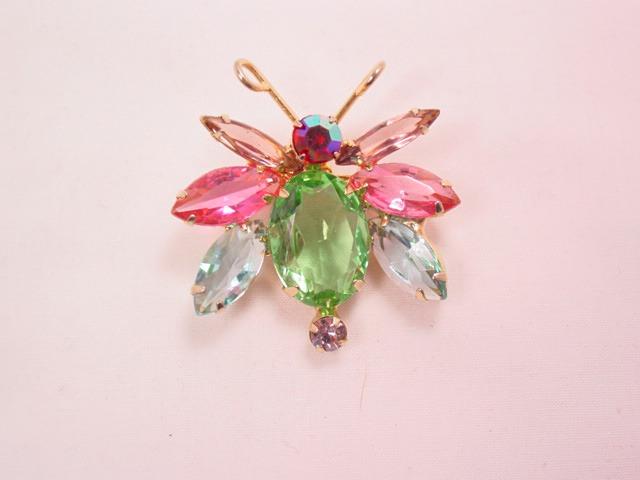 Cute Pastel-Colored Rhinestone Bug Pin