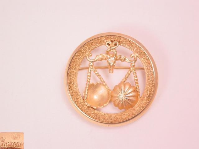 Trifari Libra Zodiac Pin
