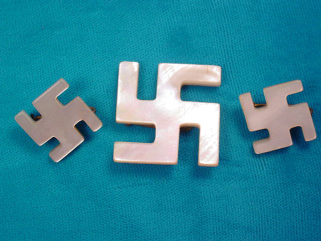 Set of 3 Mother of Pearl Swastika Pins