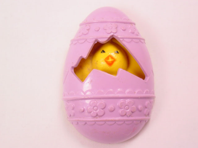 1977 Chick in Purple Egg Avon Sachet Pin
