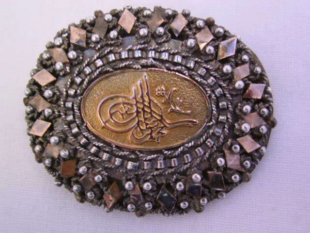 Ornate Turkish Oval Sterling Pin