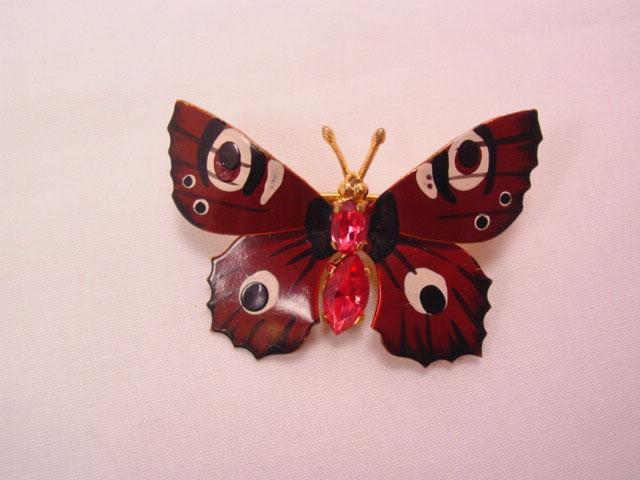 Czechoslovakian Brown Butterfly Pin