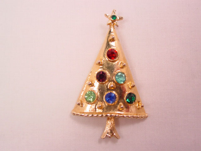Modern Rhinestone Christmas Tree Pin