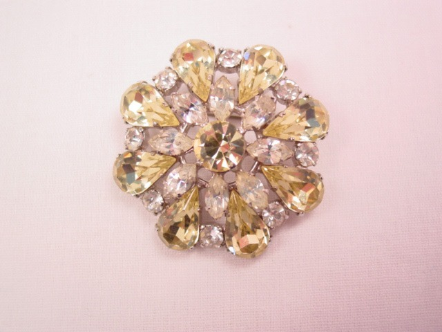 Austrian Yellow and Clear Rhinestone Flower Pin