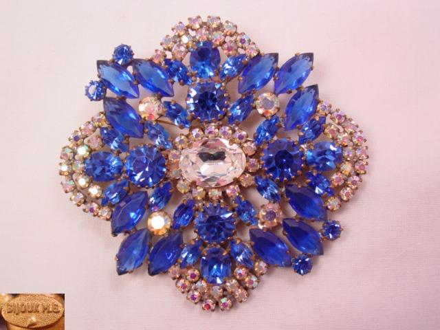 Bijoux M. G. Huge Blue and Aurora Borealis Pin