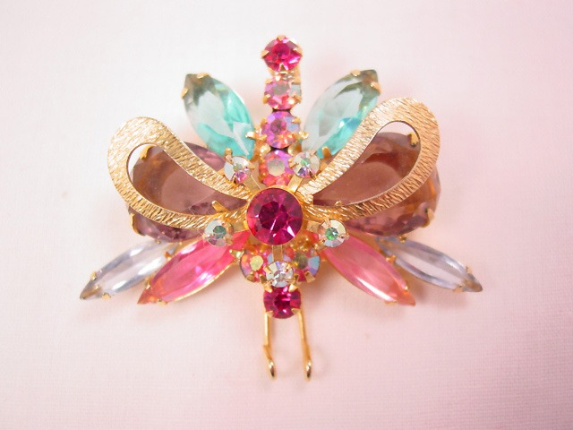 Beautiful Pink and Blue Rhinestone Butterfly Pin