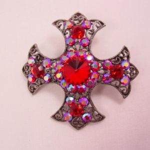 Bright Red and Aurora Borealis Maltese Cross Pin/Pendant