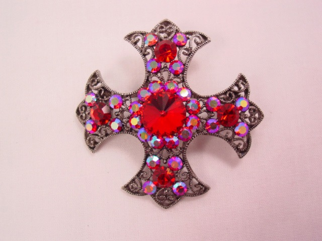 Bright Red and Aurora Borealis Maltese Cross Pin/Pendant