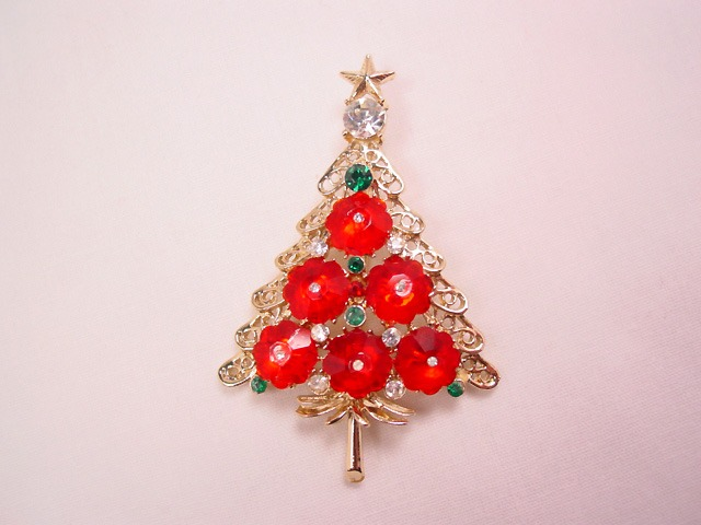 Bright Red Rondelle Christmas Tree Pin