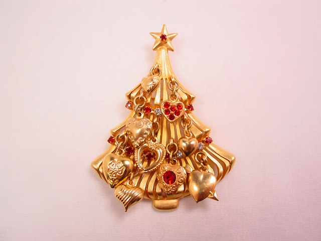Kirk's Folly Red Heart Christmas Tree Pin