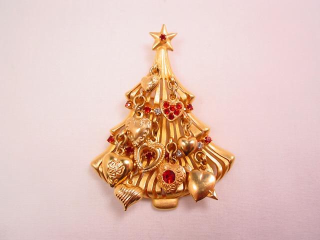 Kirk's Folly Red Heart Christmas Tree Pin