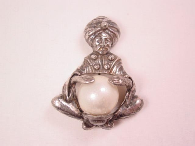 Silvertone Fortune Teller Pearl Pin