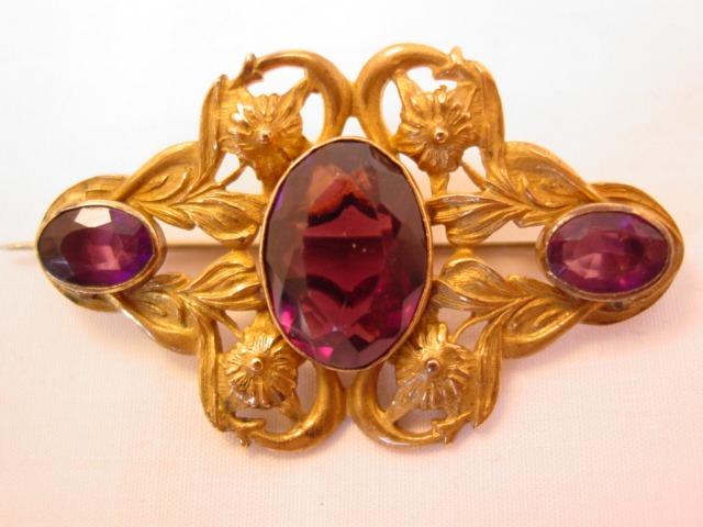 Beautiful Heavy Filigree and Purple Sash Pin