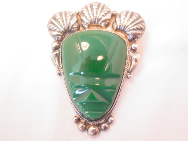 Very Large Sterling and Green Tribal Face Pin