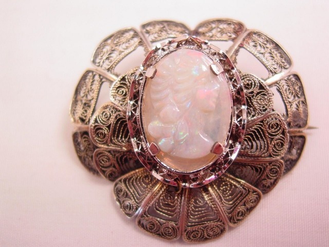 Unusual Opal Cameo and Silver Pin