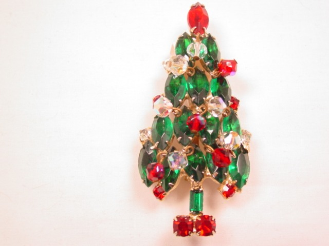Stunning Rhinestone Christmas Tree Pin with Aurora Borealis Dangling Ornaments