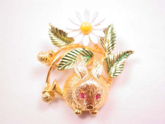 Trifari Trembler Bunny and Flower Pin
