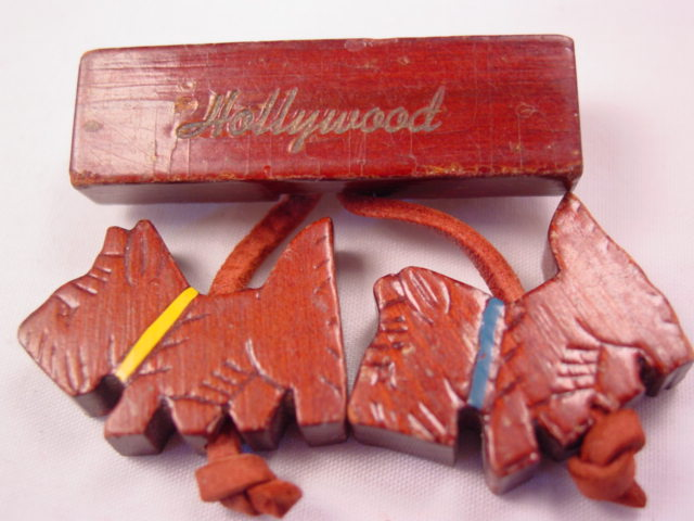 Wooden Scotty Dog Hollywood Souvenir Pin