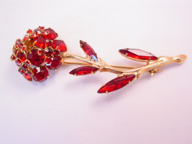 Beautiful Dimensional Red Rhinestone Flower Pin