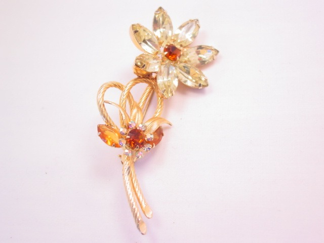 Yellow and Topaz-Colored Rhinestone Flower Pin
