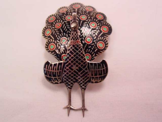 Adorable Siam Sterling Articulated Peacock Pin