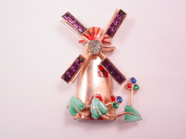 Cute Rhinestone Windmill Pin