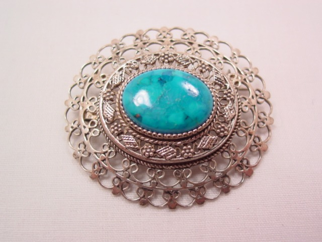 Filigree Sterling and Turquoise Oval Pin/Pendant