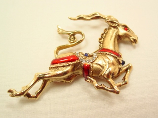 Beautiful High-Relief Running Impala Pin