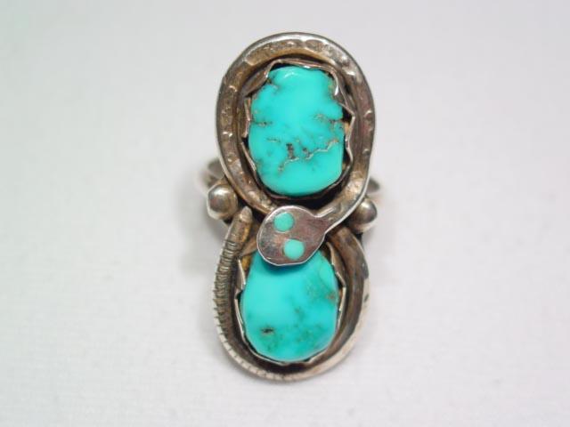 Effie Calavaza Turquoise Snake Ring