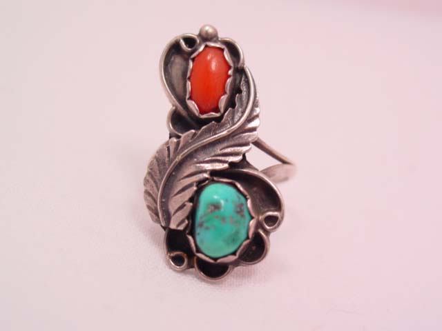 Feather Turquoise and Coral Ring