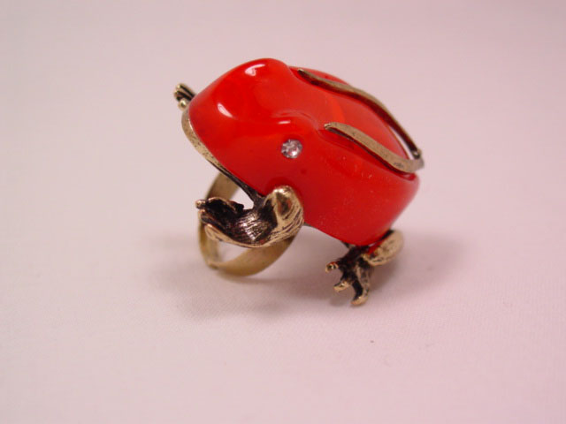 Coral-Colored Plastic Frog Ring