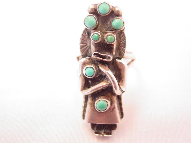 "Wonderful Turquoise Tribal Woman Ring Marked ""DM"""