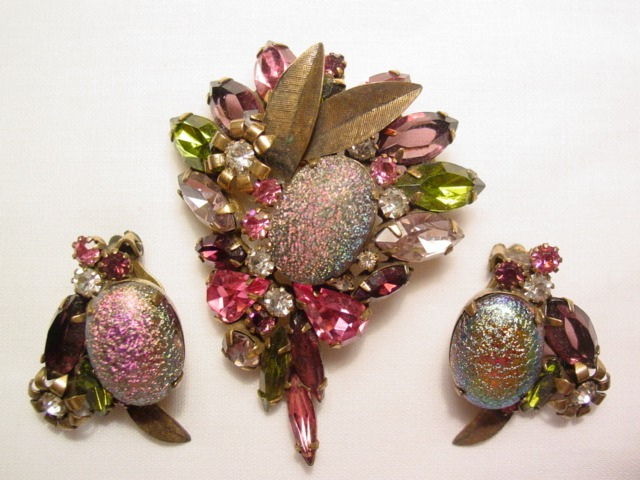 Beautiful Art Glass Pink and Lavender Earrings & Pin Set