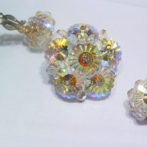 Fantastic Yellow Aurora Borealis Pin and Earrings Set