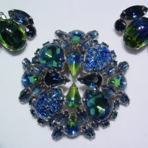 Beautiful Blue and Green Art Glass Pin and Earrings Set