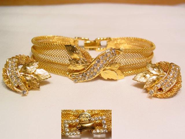 1965 Hobe Mesh Bracelet and Earrings Set