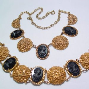 Beautiful Black Victorian Cameo Necklace and Bracelet Set