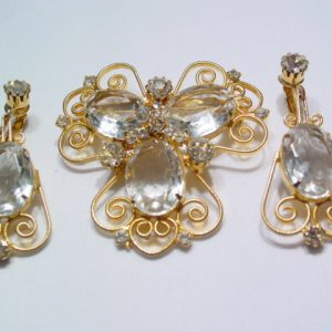 Filigree crystal Pin and Earrings Set