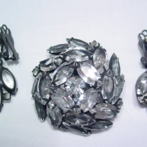 Stunning Clear Rhinestone and Japanned Pin and Earrings Set