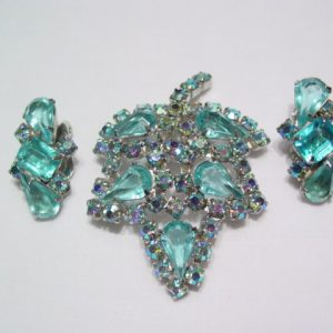 Aqua leaf Pin and Earrings Set