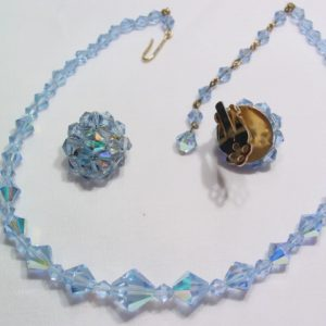 Pale Blue Aurora Borealis Necklace and Earrings Set