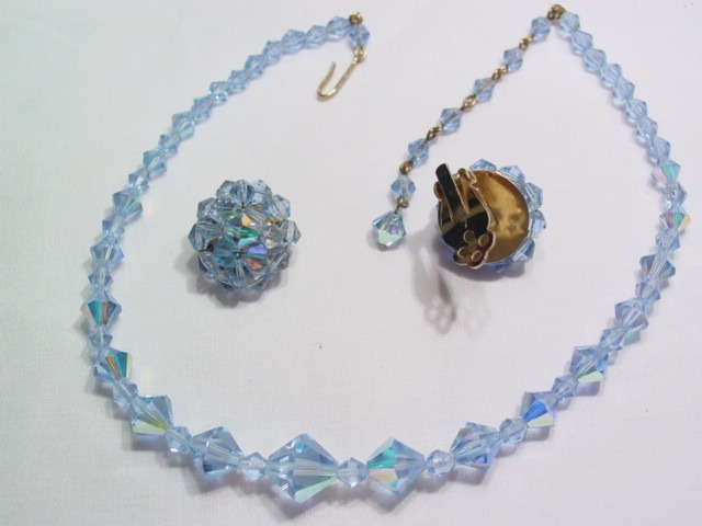 Pale Blue Aurora Borealis Necklace and Earrings Set