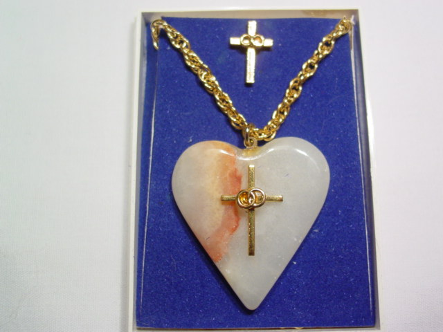 Stone Heart/Cross Necklace and Tie Tac
