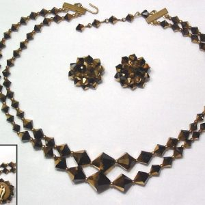 Black and Gold Glass Necklace and Earrings Set
