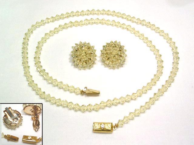 Pale Yellow Crystal Necklace and Earrings Set