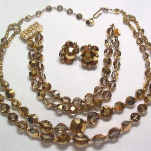 Goldtone/Smokey Topaz Aurora Borealis Necklace, Bracelet and Earrings Set
