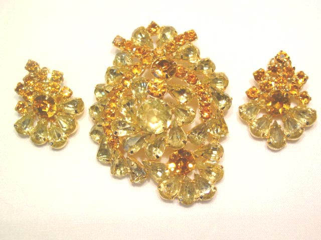 Bright Yellow and Topaz Pin and Earrings Set