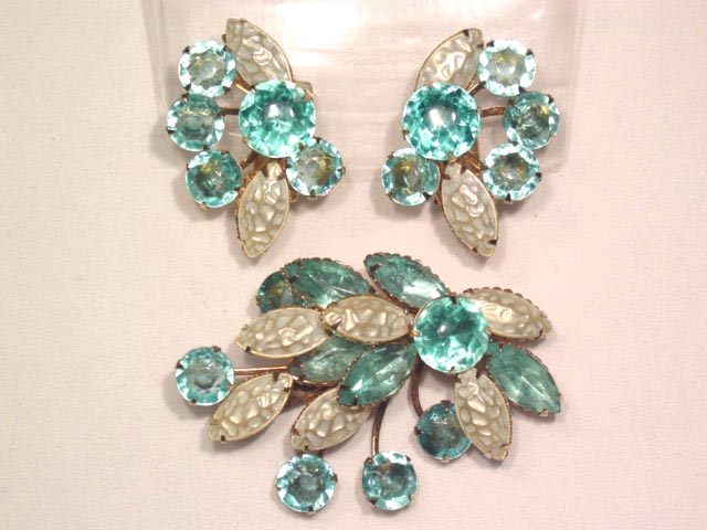 Aqua and Pearl Pin and Earrings Set