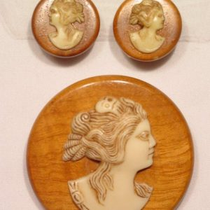Wooden Cameo Pin and Earrings Set